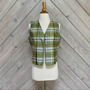 Real Clothes Saks Fifth Ave Plaid Silk Vest